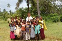 Jen Hill and children at the EAC's school in Kenya,